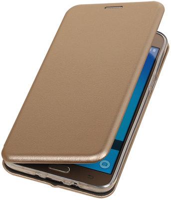 Goud Premium Folio leder look booktype smartphone voor Hoesje voor Samsung Galaxy J7 2016 J710F