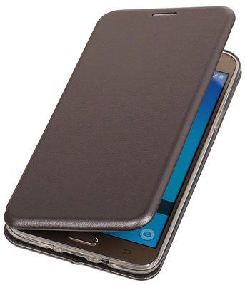 Grijs Premium Folio leder look booktype smartphone voor Hoesje voor Samsung Galaxy J7 2016 J710F