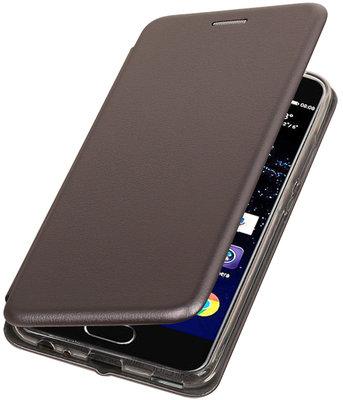 Grijs Premium Folio leder look booktype smartphone voor Hoesje voor Huawei P10