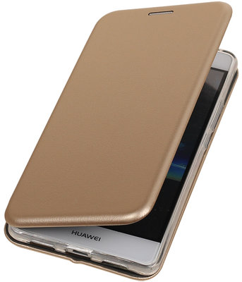 Goud Premium Folio leder look booktype smartphone hoesje voor Huawei P9 Lite