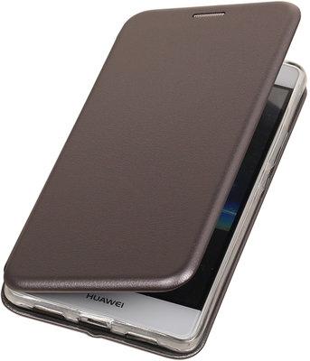 Grijs Premium Folio leder look booktype smartphone voor Hoesje voor Huawei P9 Lite