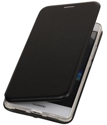 Zwart Premium Folio leder look booktype smartphone voor Hoesje voor Huawei P9 Lite
