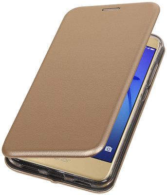Goud Premium Folio leder look booktype smartphone hoesje voor Huawei P8 Lite 2017