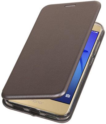 Grijs Premium Folio leder look booktype smartphone voor Hoesje voor Huawei P8 Lite 2017