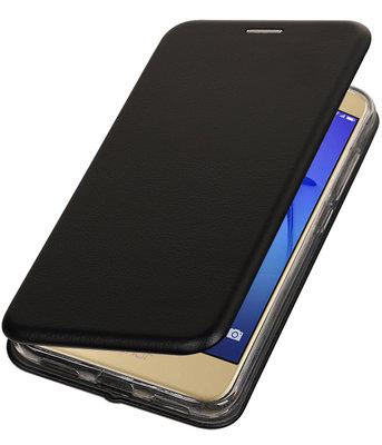 Zwart Premium Folio leder look booktype smartphone voor Hoesje voor Huawei P8 Lite 2017