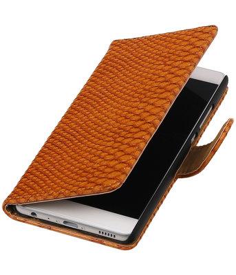 Bruin Slang booktype wallet cover hoesje voor HTC Desire 210