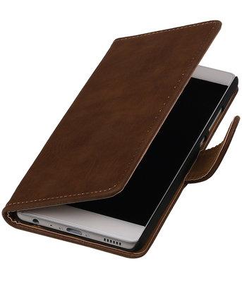 Bruin Hout booktype wallet cover hoesje voor HTC Desire 210