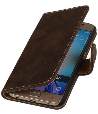Donker Bruin Hout booktype wallet cover hoesje voor HTC Desire 210