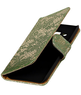 Donker Groen Lace booktype wallet cover hoesje voor Samsung Galaxy A3 2017 A320F