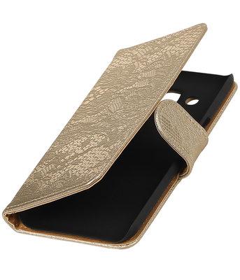 Goud Lace booktype wallet cover voor Hoesje voor Huawei P9 Lite