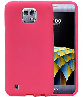 Roze Zand TPU back case cover hoesje voor LG X Cam K580