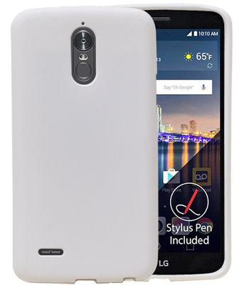 Wit Zand TPU back case cover voor Hoesje voor LG Stylus 3 / K10 Pro
