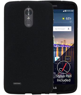 Zwart Zand TPU back case cover voor Hoesje voor LG Stylus 3 / K10 Pro