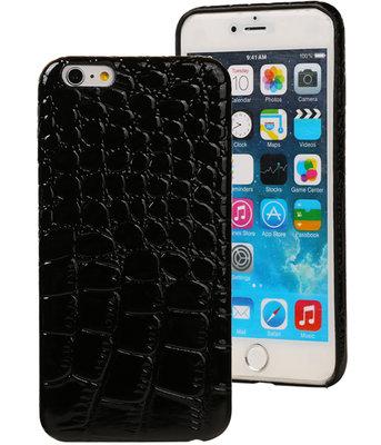 Zwart Krokodil TPU back cover case hoesje voor Apple iPhone 6 Plus / 6S Plus