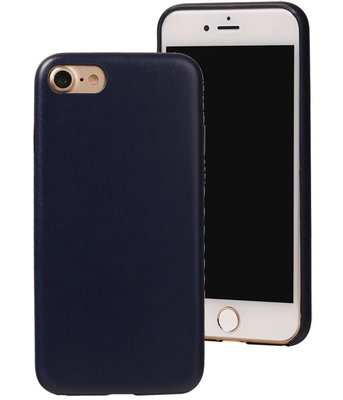 Blauw Leder Design TPU back cover case hoesje voor Apple iPhone 7 / 8