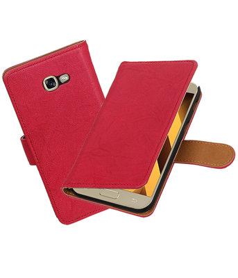 Roze Echt Leer Leder booktype Hoesje voor Samsung Galaxy A3 2017