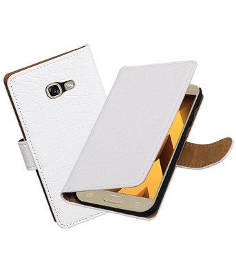 Wit Krokodil booktype wallet cover Hoesje voor Samsung Galaxy A5 2017
