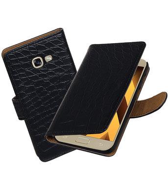 Zwart Krokodil booktype wallet cover hoesje Samsung Galaxy A5 2017