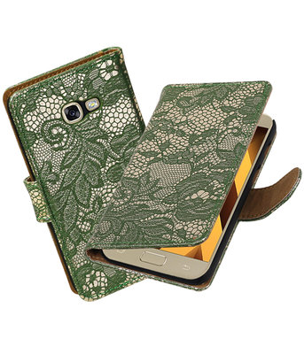 Donker Groen Lace booktype wallet cover Hoesje voor Samsung Galaxy A5 2017