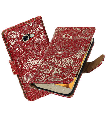 Rood Lace booktype wallet cover Hoesje voor Samsung Galaxy A5 2017
