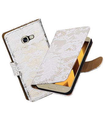 Wit Lace booktype wallet cover Hoesje voor Samsung Galaxy A5 2017