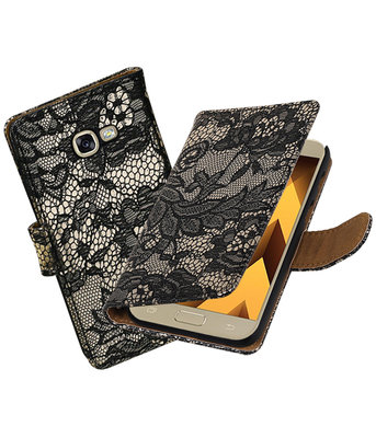 Zwart Lace booktype wallet cover hoesje Samsung Galaxy A5 2017