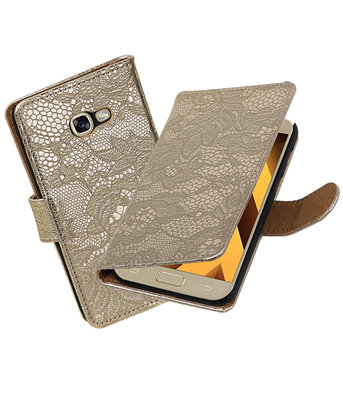 Goud Lace booktype wallet cover hoesje Samsung Galaxy A5 2017