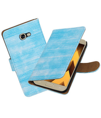 Turquoise Mini Slang booktype wallet cover hoesje Samsung Galaxy A5 2017