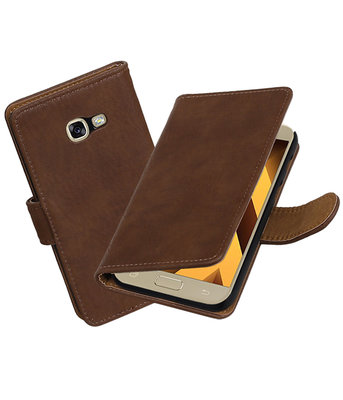 Bruin Hout booktype wallet cover hoesje Samsung Galaxy A5 2017