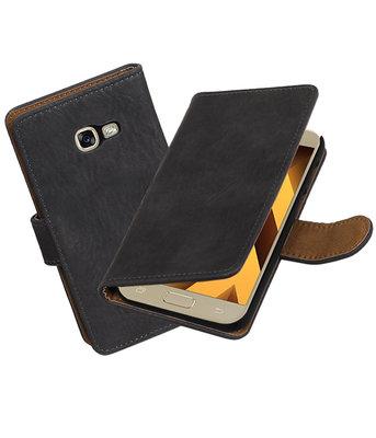 Grijs Hout booktype wallet cover Hoesje voor Samsung Galaxy A5 2017