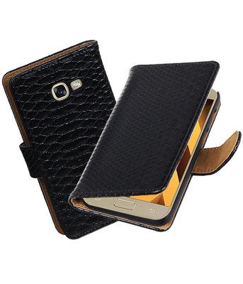 Zwart Slang booktype wallet cover Hoesje voor Samsung Galaxy A5 2017