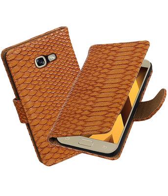 Bruin Slang booktype wallet cover Hoesje voor Samsung Galaxy A5 2017