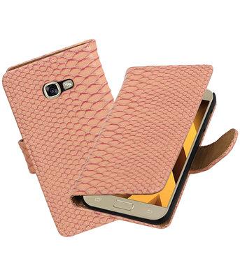Roze Slang booktype wallet cover hoesje Samsung Galaxy A5 2017