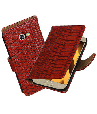Rood Slang booktype wallet cover hoesje Samsung Galaxy A5 2017