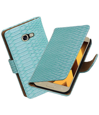 Turquoise Slang booktype wallet cover hoesje Samsung Galaxy A5 2017