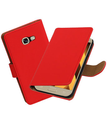 Rood Effen booktype wallet cover Hoesje voor Samsung Galaxy A5 2017