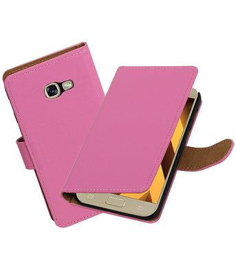 Roze Effen booktype wallet cover Hoesje voor Samsung Galaxy A5 2017