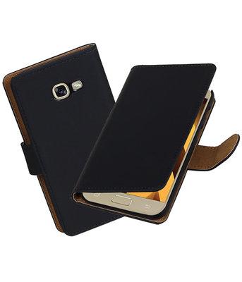 Zwart Effen booktype wallet cover Hoesje voor Samsung Galaxy A5 2017