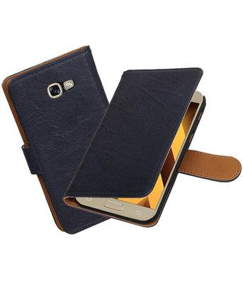 Donker Blauw Echt Leer Leder booktype hoesje Samsung Galaxy A5 2017
