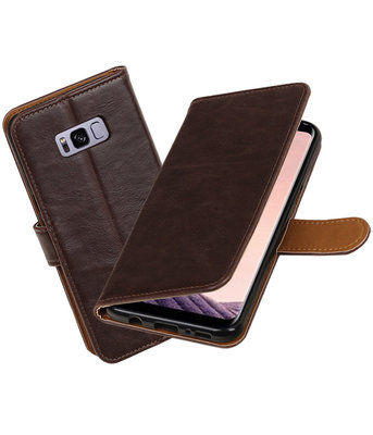 Mocca Pull-Up PU booktype wallet cover voor Hoesje voor Samsung Galaxy S8