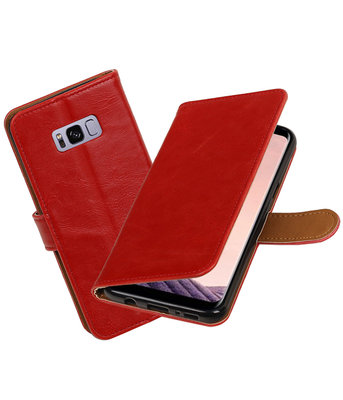 Rood Pull-Up PU booktype wallet cover hoesje voor Samsung Galaxy S8