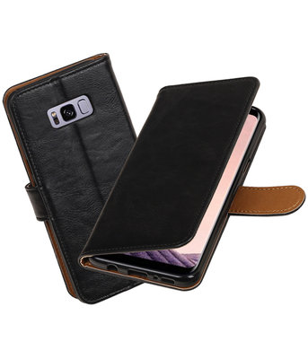 Zwart Pull-Up PU booktype wallet cover Hoesje voor Samsung Galaxy S8+ Plus