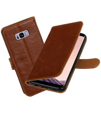 Bruin Pull-Up PU booktype wallet cover Hoesje voor Samsung Galaxy S8+ Plus