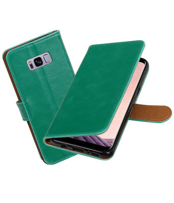 Groen Pull-Up PU booktype wallet cover Hoesje voor Samsung Galaxy S8+ Plus