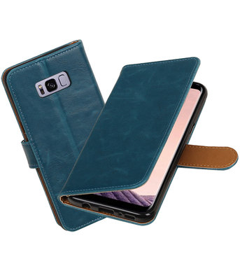 Blauw Pull-Up PU booktype wallet cover Hoesje voor Samsung Galaxy S8+ Plus
