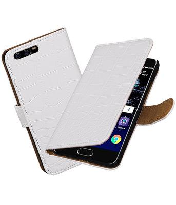 Wit Krokodil booktype wallet cover Hoesje voor Huawei P10