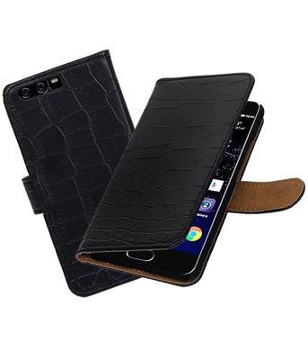 Zwart Krokodil booktype wallet cover Hoesje voor Huawei P10