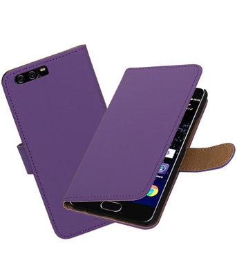 Paars Effen booktype wallet cover Hoesje voor Huawei P10