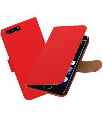 Rood Effen booktype wallet cover Hoesje voor Huawei P10