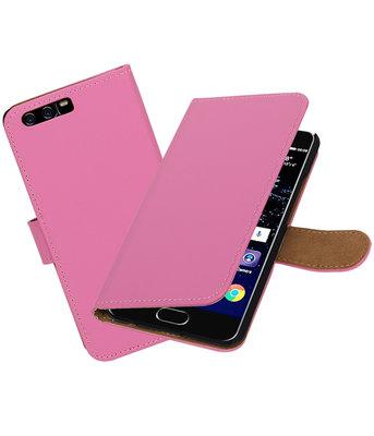 Roze Effen booktype wallet cover Hoesje voor Huawei P10